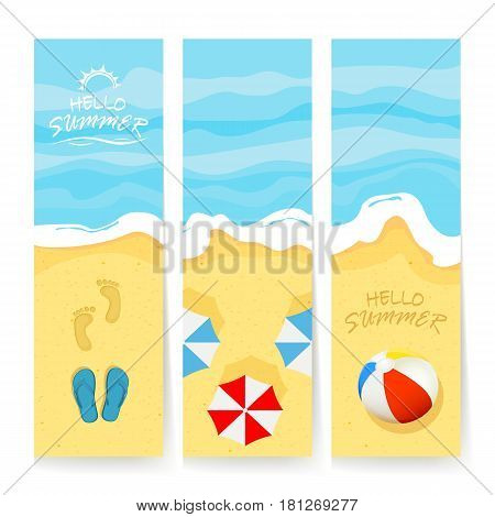Set of cards with ocean or sea and sandy beach. Summer backgrounds with colored beach bal,l umbrellas and flip flops with footprints. Lettering Hello Summer, illustration.