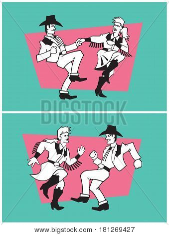 Country Dancers Vector Design. Set of two illustrations of a pair of country dancers in different poses.