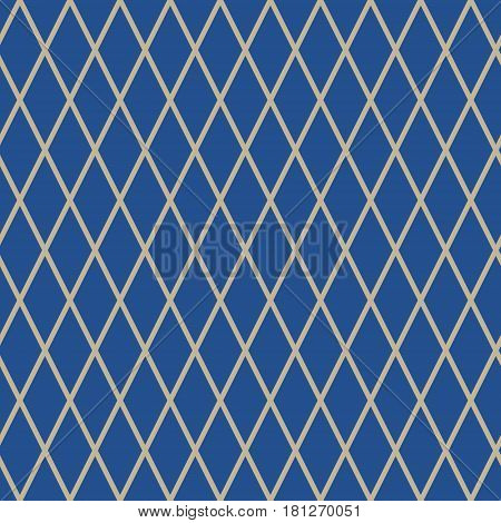 Seamless Pattern of Rhombus, Pattern for Fabric and Wrapping Paper, Gold Rhombus on Blue Background, Vector Illustration