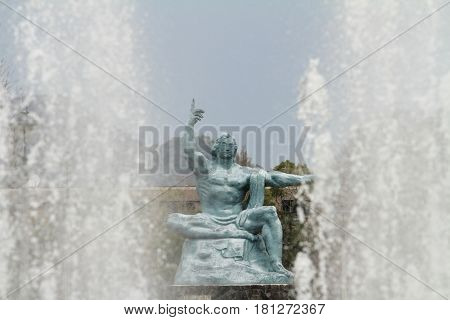 peace statue and fountain of peace in Nagasaki Japan