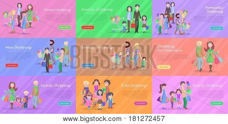 Set of different kinds of shopping in storehouses. Romantic families with kids, men and women on valentine shopping. Vector illustration of happy big families and couples in stores.