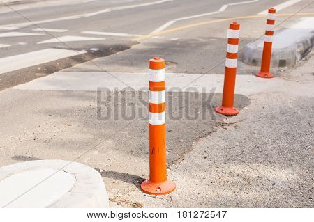Columns that restrict the movement of vehicles and Parking, bars for limiting the movement, limiters or blocker.