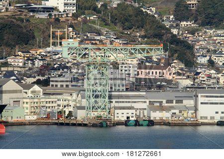 giant cantilever crane in Mitsubishi Nagasaki shipyard Japan
