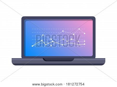 Stock exchange fluctuations peaks on laptop screen. Computer with statistics graph flat vector illustration isolated on white background. Mobile device for online trading and business presentation