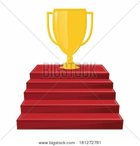 Gold winner's cup on the red stairs. A victory award, an achievement. Win symbol.