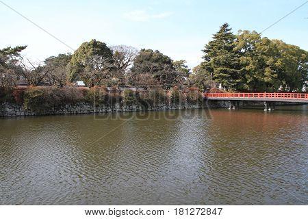 Moat Of Odawara Castle In Kanagawa, Japan