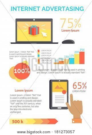 Internet advertising business process concepts on white. Open laptop with present on screen, hand using smartphone column chart with percentages from buying via the Internet and advertisement