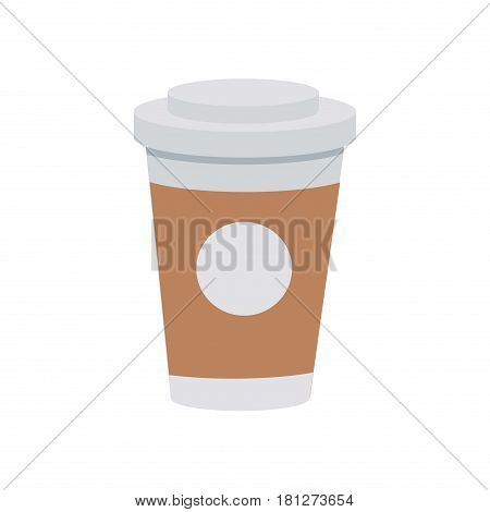 Coffee from plastic or paper cup with lid and drink logo on white background. Takeaway hot beverage in disposable body. Vector illustration in cartoon style flat design for websites, infographics, app.