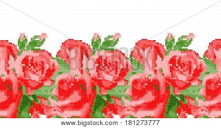 Template for cross stitch red rose on white background. Vector pattern for embroidery or needlework.