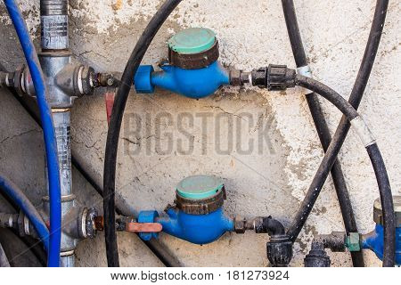 Water meters, sanitary equipment. The counter of the spent water