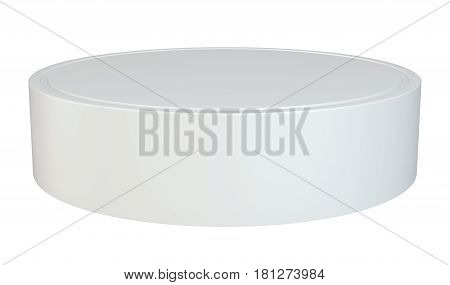Round podium. Pedestal scene 3D rendering stand isolated on white background.