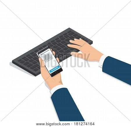 Mens hands in business suit with smartphone in palm, typing on computer keyboard isometric projection vector on white. Sms verification during online banking 3d illustration for business concept