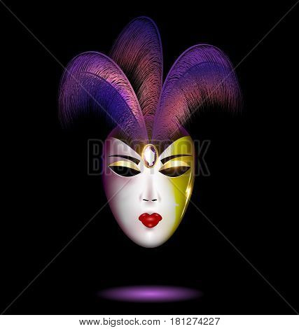 dark background and the large white-purple carnival mask decorated with jewel pin and feathers