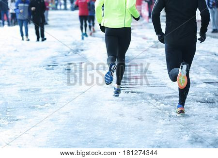 Marathon race on winter street