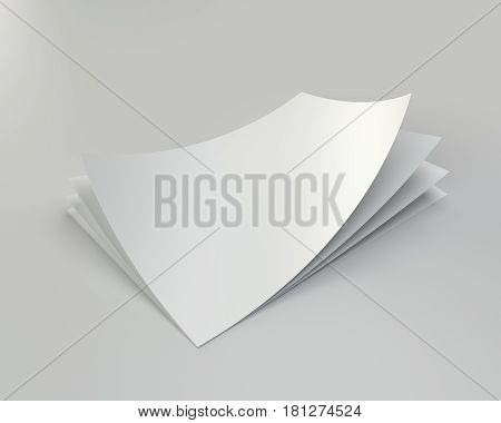 Stack empty white sheets of A4 paper with one deflected corner. 3d rendering.