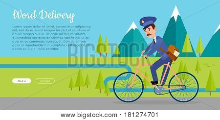 World delivery cartoon web banner. Postman in uniform with mailbag driving bicycle on mountain forest landscape flat vector illustration. Horizontal concept for mail or post company landing page