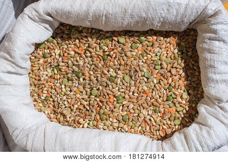 Mixed Legume And Cereals Heap On Market Shelf