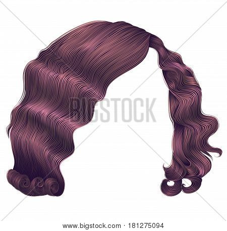 woman hairs kare copper pink colors . beauty fashion .retro style curls . realistic 3d .