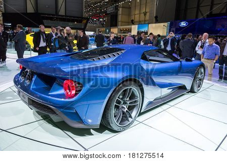 GENEVA SWITZERLAND - MARCH 4 2015: New Ford GT Supercar at the 85th International Geneva Motor Show in Palexpo Geneva.