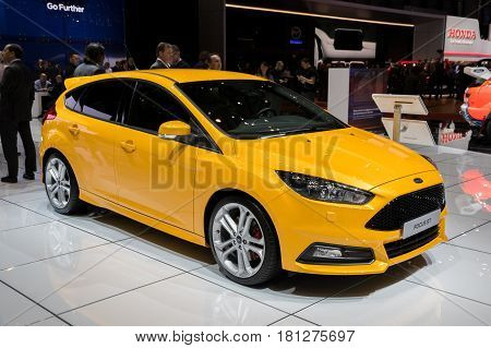 GENEVA SWITZERLAND - MARCH 7 2017: Ford Focus ST car shown at the 87th Geneva International Motor Show.