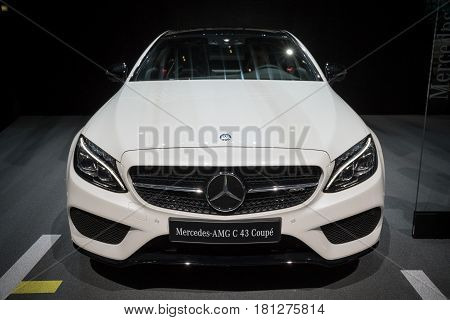 GENEVA SWITZERLAND - MARCH 7 2017: Mercedes AMG C43 Coupe car presented at the 87th Geneva International Motor Show.
