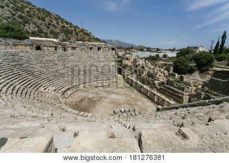 Lycian Semicircle Amphitheater In Myra In Turkey