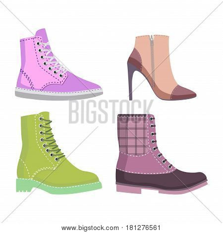 Winter and autumn female shoes set of four winter and autumn shoes rubber boots and elite shoes isolated on white background. Vector illustration of women s shoes. Fashionable shoes for cold seasons.