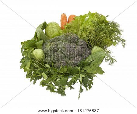 isolated healty green vegetables in the basket