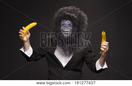 A man in a monkey mask on a black background with two bananas. Man in the costume of a monkey