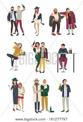Drunk people in various situation. Flat characters set. woman and man, girl and boy on white background
