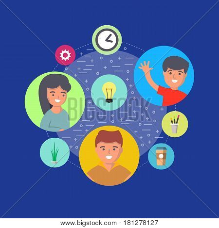 People teamwork banner with round avatar icons vector illustration. Business partnership, creative team, group brainstorming, project management, idea generation, people communication concept