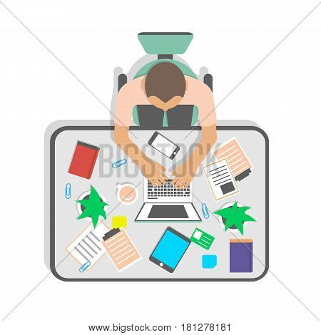 Top view workplace of businessman in office vector illustration. Young man working on laptop at table with tablet, smart phone and cup of coffee. Business workspace , coworking space concept