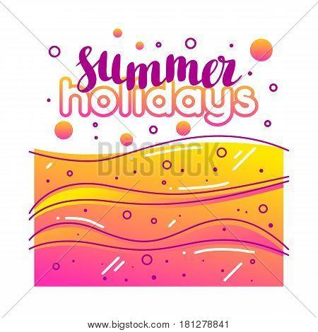 Summer holidays on sandy beach. Stylized illustration of coastline.