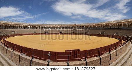 wide angle shoot bullfighters arena in sevilla spain