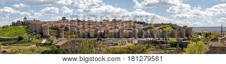 Panoramic view of the medieval fortress of Avila. Spain