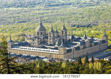 The Royal Seat of San Lorenzo de El Escorial historical residence of the King of Spain about 45 kilometres northwest Madrid in Spain.