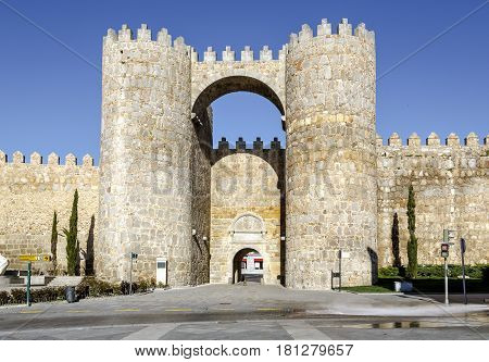 Gate of the Alcazar one of the nine gates in the city walls of Avila Spain