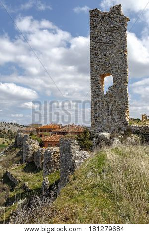 Ruins of a medieval fortress in Calatanazor Soria Spain