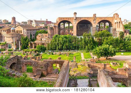 View of Roman Forum in Rome, Italy