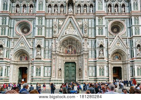 FLORENCE, ITALY - MAY 11, 2014: The Basilica di Santa Croce (Basilica of the Holy Cross) built in the 15th century. This is one of the main attractions of the city.