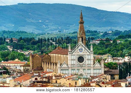 The Basilica of Santa Croce (Basilica of the Holy Cross) in Florence, Italy