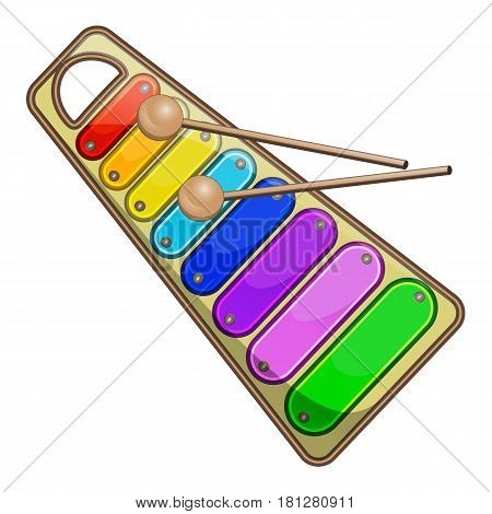Children's rainbow xylophone on white background vector illustration