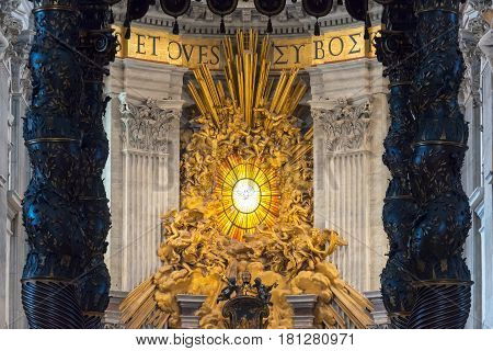 ROME, ITALY - MAY 12, 2014: Interior of Saint Peter's Basilica. St. Peter's Basilica is one of the main tourist attractions of Rome.