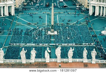 Aerial view of Piazza San Pietro (Saint Peter square) in Vatican City, Rome, Italy