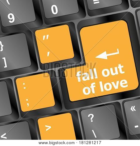 Modern keyboard key with words - fall out of love