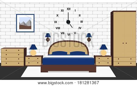 Room interior with bed furniture. Vector bedroom house design. Cartoon background in flat style with brick wall and carpet.