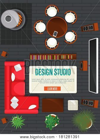 Design studio concept with top view apartment vector illustration. Living room with sofa, armchair, table and home cinema. Contemporary studio apartments architectural plan, creative design project