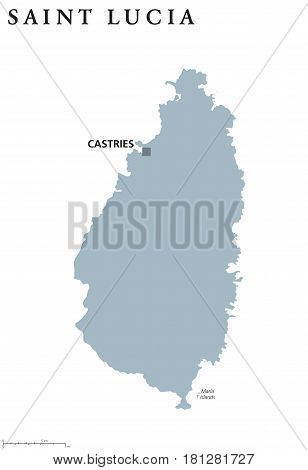 Saint Lucia political map with capital Castries. Caribbean island country and part of the Lesser Antilles and Windward Islands. Gray illustration isolated on white background. English labeling. Vector