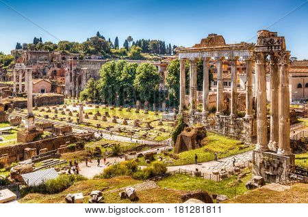 View of the Roman Forum with the Temple of Saturn in Rome, Italy