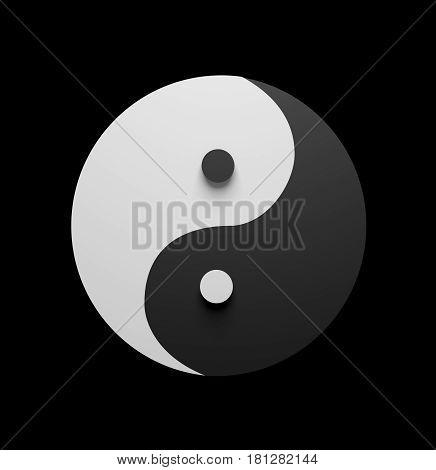 yin yang symbol on black background 3d render